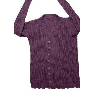 Sweaters - •Boutique• HandKnit Pure Wool Purple Sweater